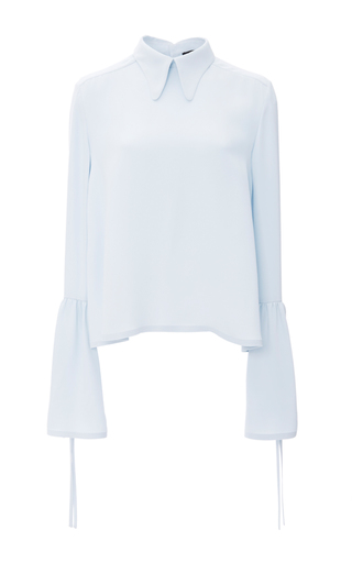 Medium derek lam blue crepe blouse with side tie detail