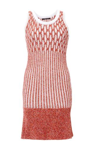 Medium derek lam orange honeycomb rib sleeveless dress with ruffle hem