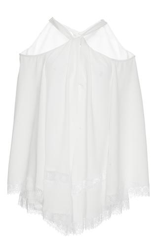 Medium derek lam white crepe long sleeve twist halter blouse