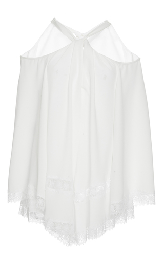 Medium derek lam white crepe long sleeve twist halter blouse