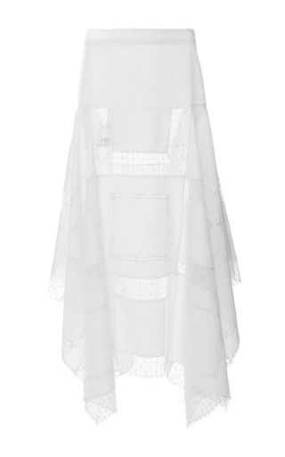 Medium derek lam white plisse stripe handkerchief skirt with side split