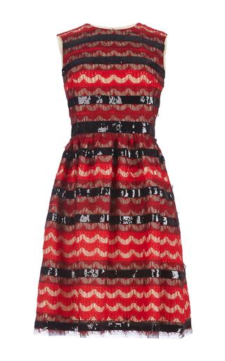 Medium huishan zhang red scalloped lace and sequin sleeveless dress