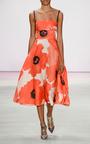 Oversized Floral Gazar Full Skirt Dress by LELA ROSE Now Available on Moda Operandi