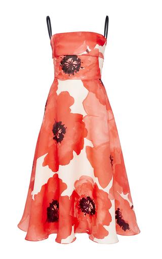 Medium lela rose red oversized floral gazar full skirt dress