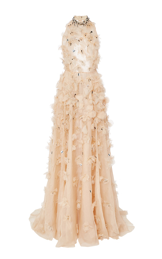 Medium lela rose nude floral embroidery halter gown