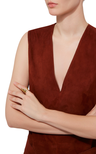 Anuket 24k Gold And Rhodium Triple Layered Open Ring by MONICA SORDO Now Available on Moda Operandi