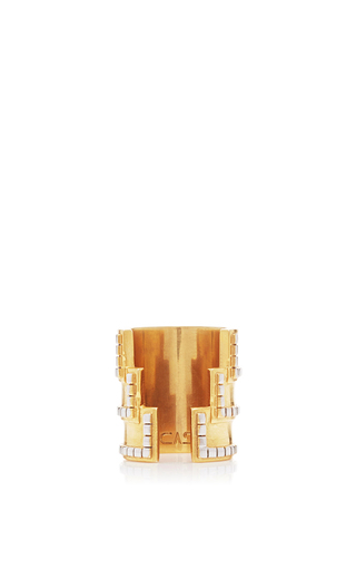Medium monica sordo gold anuket 24k gold and rhodium triple layered open ring