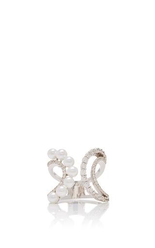 Medium fallon silver axis pearl double wave ring