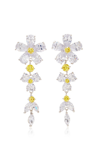 Medium fallon silver monarch florette cubic zirconia earrings