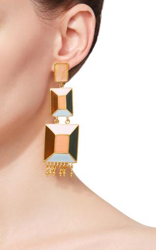 Triple Hexagon Drop Earrings by PAULA MENDOZA Now Available on Moda Operandi