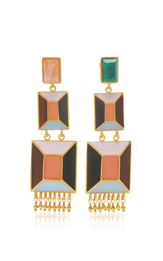 Medium paula mendoza gold 24k gold and emerald triple hexagon drop earrings