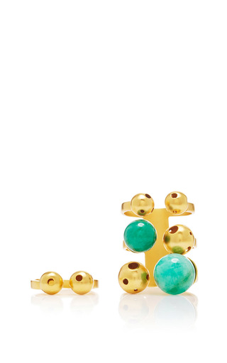 Medium paula mendoza gold gold and emerald bulles layered ring set