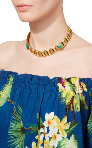 Emerald And Gold Hexagon Choker by PAULA MENDOZA Now Available on Moda Operandi