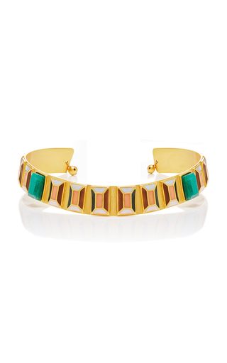 Medium paula mendoza gold 24k gold and emerald hexagon choker