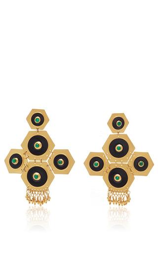 24k Gold Boros Dark Stone Statement Earrings by PAULA MENDOZA Now Available on Moda Operandi