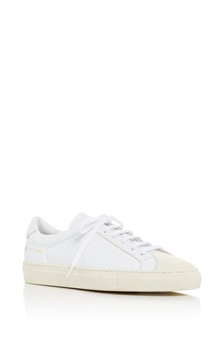 Medium common projects  2 white white retro two toned sneakers with cap toe