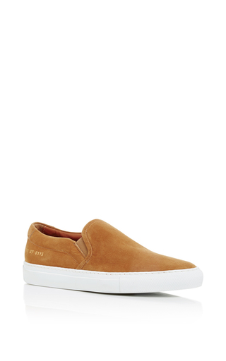 Tan Suede Slip On Sneakers  by COMMON PROJECTS Now Available on Moda Operandi