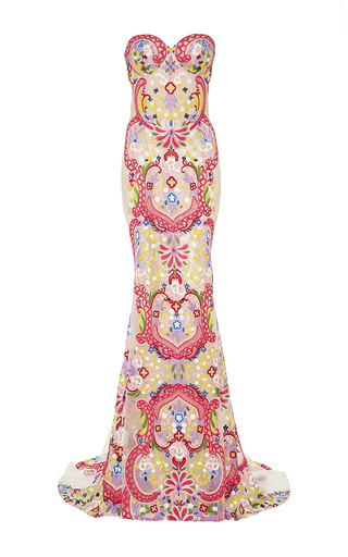 Medium naeem khan white embroidered sweetheart gown