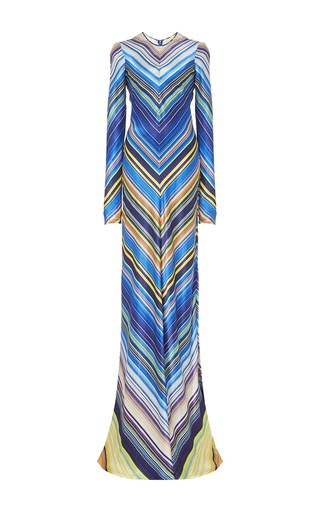Medium naeem khan stripe chevron silk gown