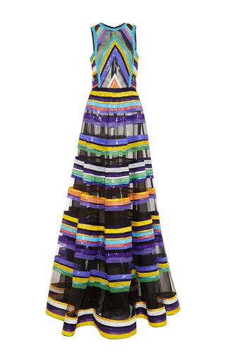Medium naeem khan black embroidered stripe a line gown