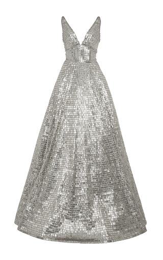 Medium naeem khan silver beaded v neck ball gown