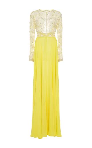 Medium naeem khan yellow beaded long sleeve chiffon gown