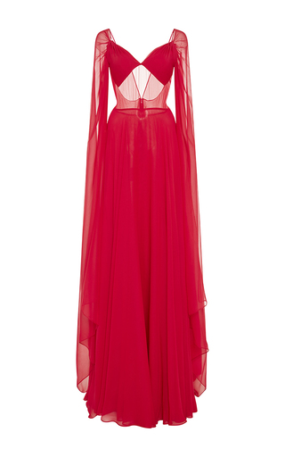 Medium naeem khan fuchsia cascading sleeve silk chiffon gown