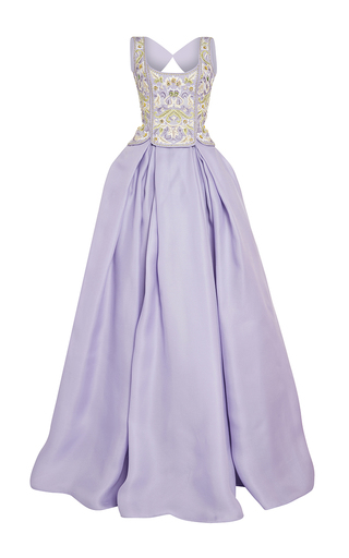 Medium naeem khan purple embroidered two piece ball gown