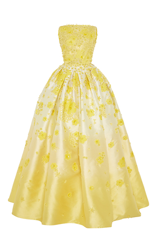 Medium naeem khan yellow embroidered ombre ball gown