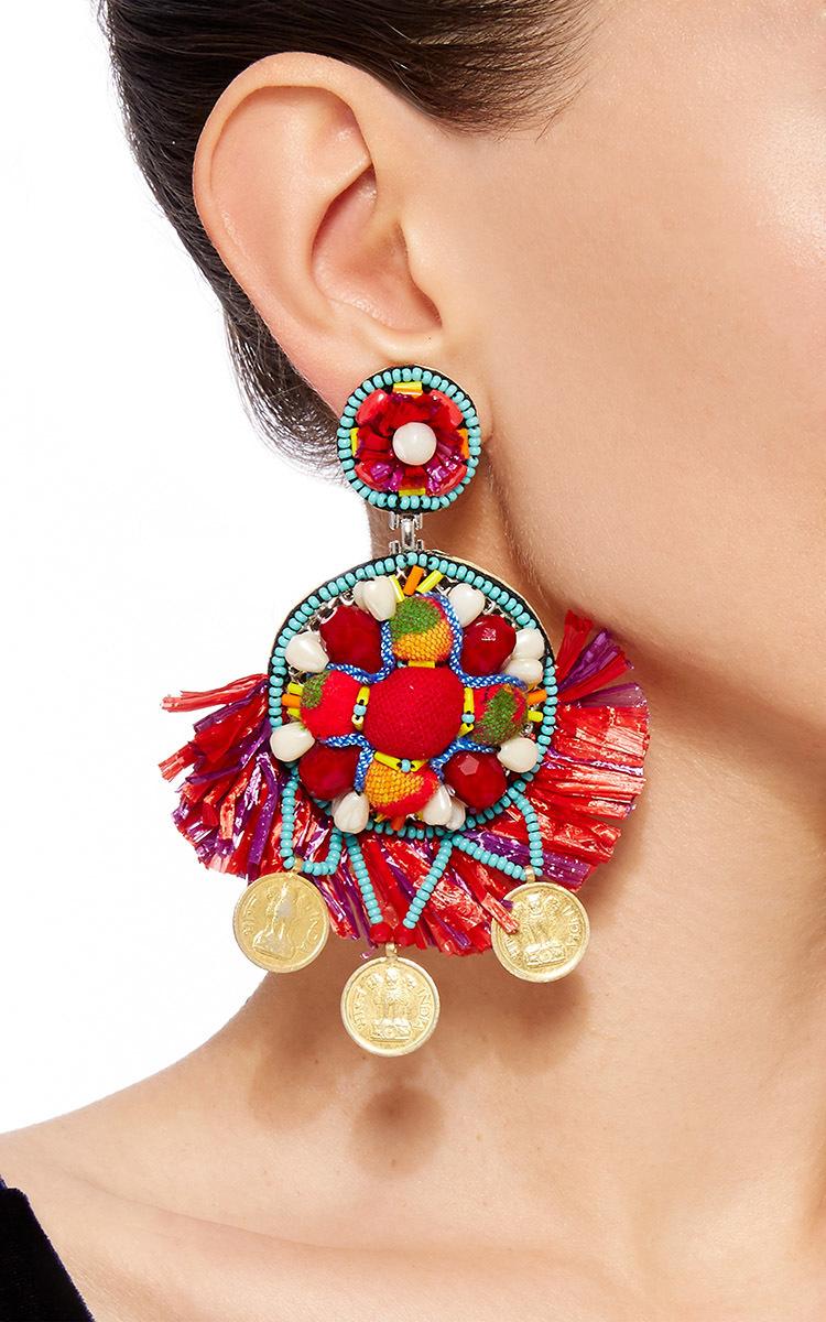 Coin Embellished Drop Earrings By Ranjana Khan Moda Operandi