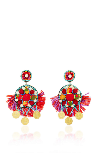 Medium ranjana khan red coin embellished drop earrings