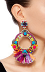 Fringe Embellished Circle Earrings by RANJANA KHAN Now Available on Moda Operandi