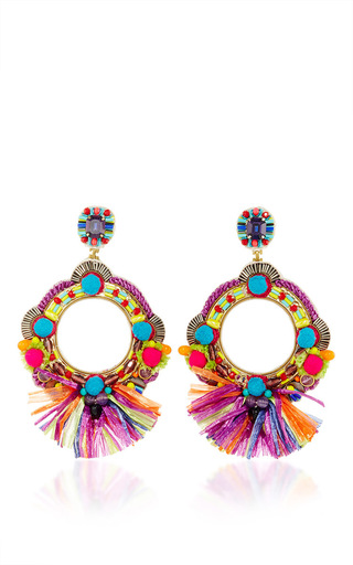 Medium ranjana khan multi fringe embellished circle earrings