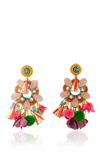 Medium ranjana khan multi rose quartz fringe earrings