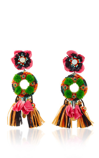 Medium ranjana khan multi fringed floral drop earrings