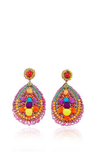 Medium ranjana khan multi embellished tear shaped earrings