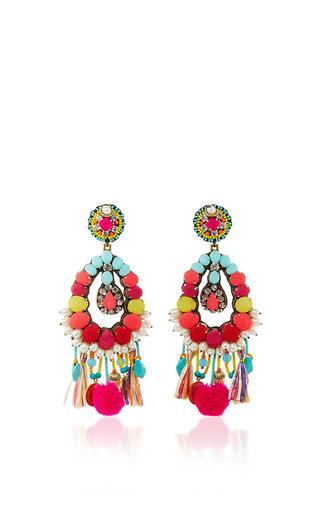Medium ranjana khan multi turquoise fringe earrings
