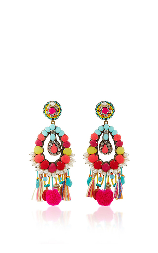 Medium ranjana khan multi turquoise fringe earrings