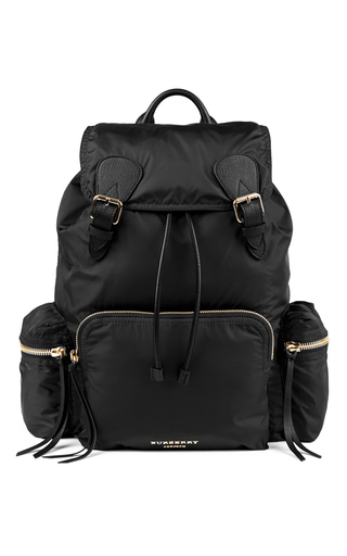 Medium burberry black rucksack in technical black nylon and leather