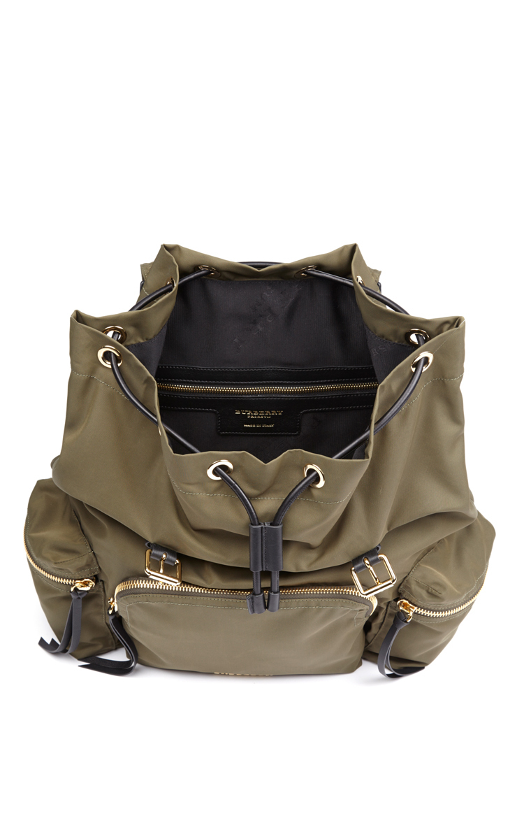 Rucksack in Technical Khaki Green Nylon and Leather by  cf0c882ef3326