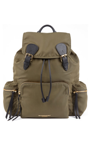Medium burberry green rucksack in technical khaki green nylon and leather