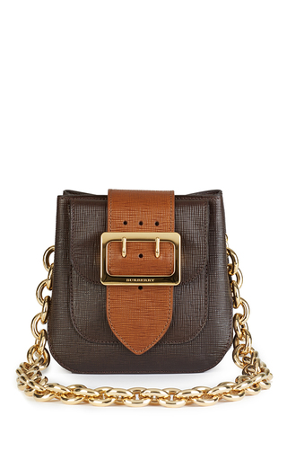 Medium burberry brown square buckle belt bag square in brown leather