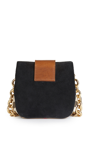 Square Belt Bag In Black English Suede And House Check by BURBERRY Now Available on Moda Operandi