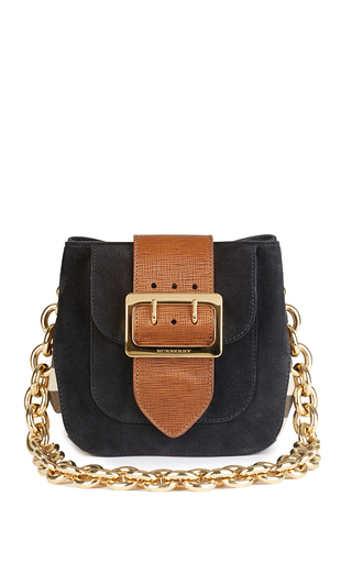 Medium burberry black square belt bag in black english suede and house check