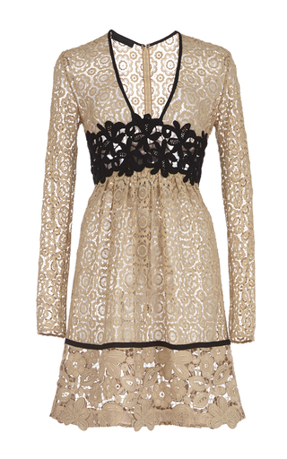 Medium burberry nude cotton lace dress with macrame detailing