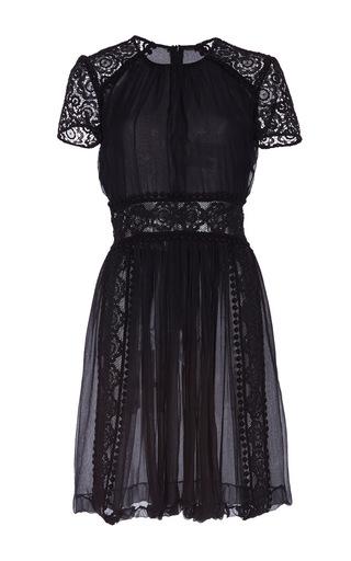 Medium burberry black silk creponne and panelled lae shift dress