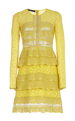 Medium burberry yellow pale citrus tiered chantilly lace shift dress