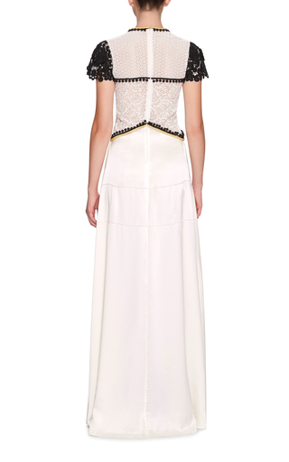 Bi Color Macramé Gown by BURBERRY Now Available on Moda Operandi