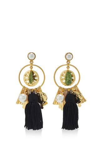 Tassel Charm Pearl Earrings by OSCAR DE LA RENTA Now Available on Moda Operandi