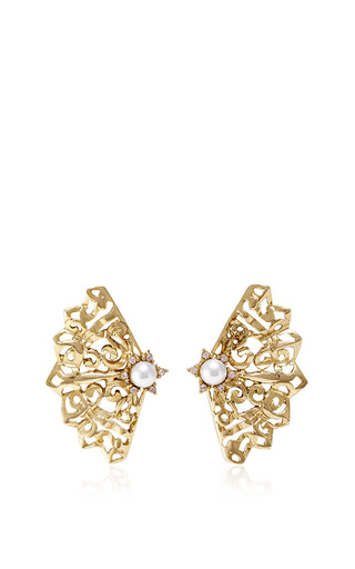 Pearl Filigree Clip On Earrings by OSCAR DE LA RENTA Now Available on Moda Operandi